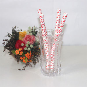 Party Products Heart Printing Fat Paper Drinking Straw pictures & photos