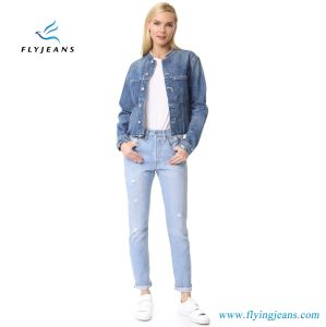 Frayed Edges and Contrast Shoulder Patches Denim Women Jeans Jacket pictures & photos