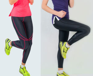Women Reflective Stride Black Running Tights pictures & photos