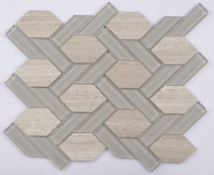 Bevel Hexagon Marble and Glass Mix Mosaic pictures & photos