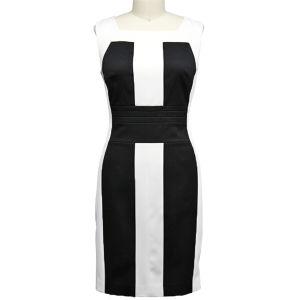 Fashionable Black & White Letter Dress for Office Ladies (1-246-580)