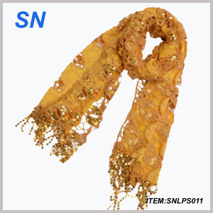 Ladies′ Fashion Yellow Sequin Scarf (SNLPS011) pictures & photos