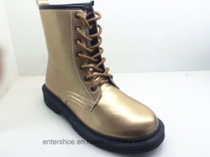 High Quality Gold Leather Women Boots with PVC Outsole (ET-XK160347W)