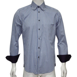 Men′s Dobby Checked Fashion Shirt HD0026