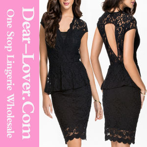 Black Sleeveless Lace A-Line Party Dress pictures & photos