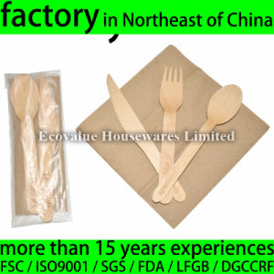 Birch Wood Disposable Cutlery Set Kit, Knife, Fork, Spoon, Napkin pictures & photos