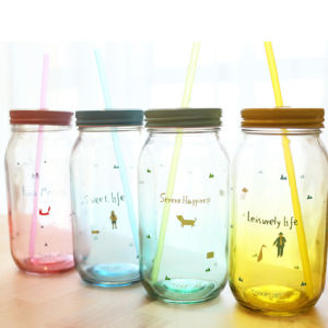 Wholesale High Quality Colorful Glass Mason Jar with Handle pictures & photos