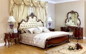 Wood Frame Leather Bed for Your Luxury Decorated Home