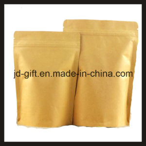 Wholesales Aluminum Kraft Paper Standing Ziplock Food Packaging Bags for Candy, Seeds, Spice, Tea, Dry Food (15*24+4cm) pictures & photos