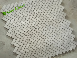 Wholesale Goods White Wood Vein Herringbone Decorative Marble Mosaic pictures & photos