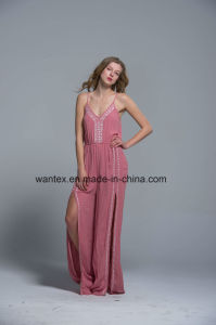 Ladies Long Dress Summer Fashion Pink Sexy Polyester Slit Sling pictures & photos