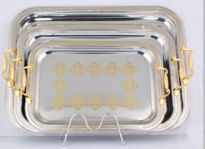 Rectangle Stainless Steel Round Serving Tray pictures & photos