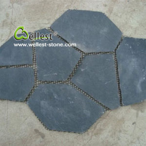 Irregular Black Slate Flagstone for Outdoor Paving (S018 black slate flagstone) pictures & photos