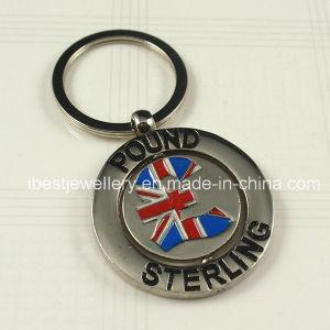 Color Enamel Metal Keyrings with Pound Sterling Logo