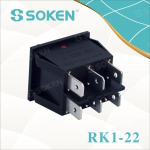 Soken Rk1-22 1X1X2n on off Illuminated Double Rocker Switch pictures & photos