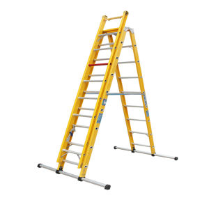 35kv Yellow Fiberglass Combination Extension Ladder with Balance Feet pictures & photos