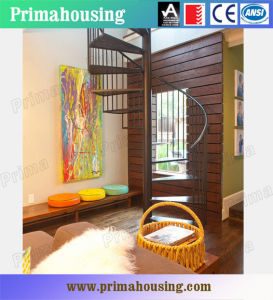 Interior Solid Wood Spiral Staircase with Stainless Steel Handrail pictures & photos