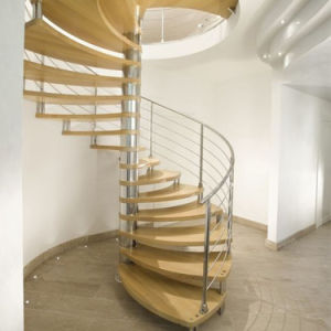 Modern Design Stainless Steel Indoor Wood Steps Spiral Staircase Price pictures & photos