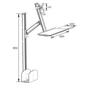 Height Adjustable Desktop Mount with Keyboard and Mouse Tray pictures & photos