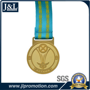 Customer Design Shiny Gold Metal Medal with H Type Ribbon pictures & photos