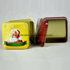 Custom Metal Food Grade Small Square Christmas Candy Tin Box pictures & photos