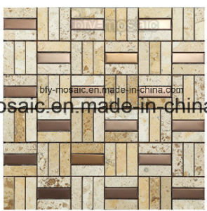 Natural Jade Marble Mosaic Mixed Stainless Steel Mosaic Tile (FYSM013) pictures & photos