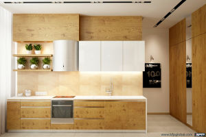 New Product Wood Grain Laminate Kitchen Cabinets pictures & photos