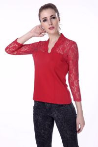 2017 New Blouse Design Red V Neck Women Tops Blouse pictures & photos