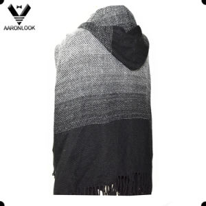 Color Gradual Change Knit Pattern Acrylic Fashion Hooded Shawl pictures & photos