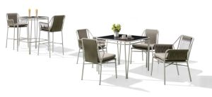 Dark Brown Powder Coat Dining Set with 4 Chairs P-Fp0316 pictures & photos