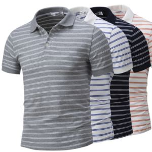 Custom Brand Wholesale Stripe Polo Shirt for Men pictures & photos