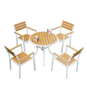 Patio Gaden Furiture Aluminum Teak Colour Plastic Wood Table Arm Chair (J823) pictures & photos