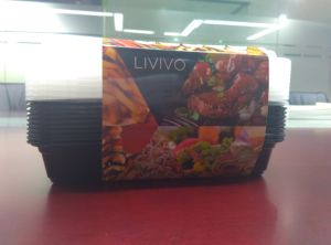 Disposable Plastic 3compartment Food Container with Airtight Lid (1000ml) pictures & photos