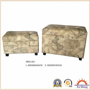 Antique Furniture Wooden Stool Storage Ottoman Chest Trunk Gift Box World Map Pattern Printed pictures & photos