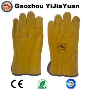 Gold Cowhide Grain Leather Work Drivers Gloves pictures & photos