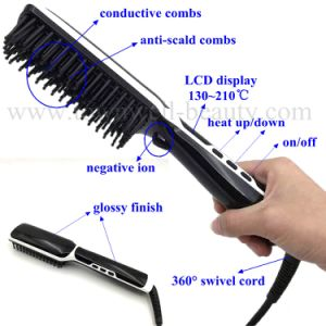 Ceramic LCD Electric Hair Brush Straightener with Ion Generator pictures & photos