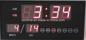 4-Digit LED Display with Date and Day Indoor Wall Clock pictures & photos