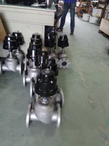 Pneumatic Flanged Angle Piston Valve Ss316/304 Stainless Steel pictures & photos