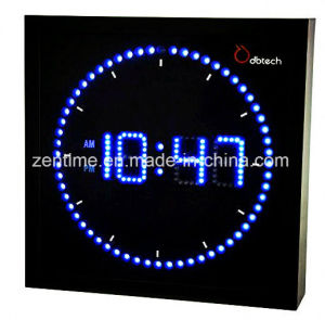 Colorful LED Wall Clock in Square Shape for Home Decoration pictures & photos
