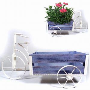 Metal Garden Decoration Clean White Tricycle Wooden Carriage Flowerpot Craft