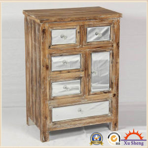 5-Drawers Antique Wooden Mirror Handmade Storage Accent Cabinet in Drift Wood Color pictures & photos