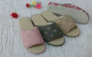 Indoor Home Nice Soft Wonmen Open Toe Slipper for Spring Autumn pictures & photos