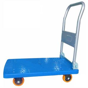 150kg Plastic Platform Hand Truck Folding Trolley with PU Caster pictures & photos