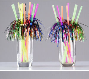 Plastic Flexible Straw with Palm Decoration pictures & photos