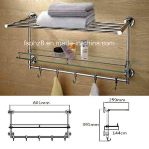 Bathroom Towel Rack and Glass Shelf with Movable Hooks (830) pictures & photos