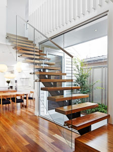 Single Stringer Straight Steel Wood Staircase Cast Iron Stairs for Indoor pictures & photos