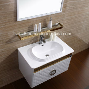 Golden White Fashion Stainless Steel Bathroom Vanity with Shelf (081) pictures & photos