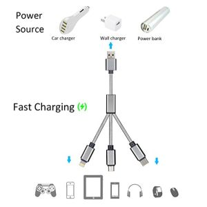 Multi USB Charging Cable 3FT 3 in 1 Multiple USB Charger Cable Charging Cord with USB Type C/8pin Lightning/Micro USB Connectors for Ios Android pictures & photos