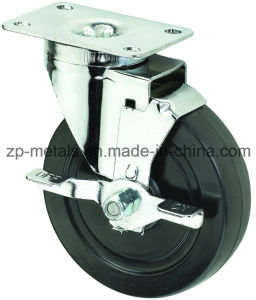 4inch Medium Sized Biaxial Black Rubber Caster Wheels with Side Brake pictures & photos