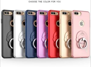 Silver iPhone PU Ring Grip Hard Back Shock Absorption Bumper Anti-Radiation Cell Phone Case